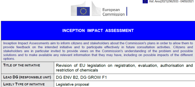 Przegląd REACH; śródokresowa ocena skutków (inception impact assessment (IIAs)); okres nadsyłania opinii – 01 czerwca 2021